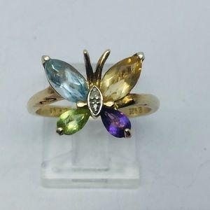 Ross Simons Sterling Gold Multicolor Gem Butterfly
